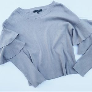 R & J Couture | Ruffle Sleeve Grey Sweater Size L